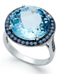 Macy's | Sterling Silver Ring, Blue Swarovski Zirconia (5/8 Ct. T.w.) And Blue Topaz (11 Ct. T.w.) Round Halo Ring | Lyst