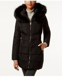 Ivanka Trump - Black Faux-fur Cinched-waist Puffer Coat - Lyst