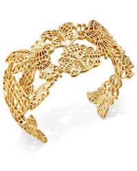 Kate Spade - Metallic Gold-tone Garden-motif Cuff Bracelet - Lyst
