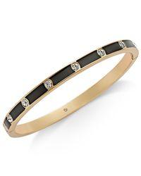 Kate Spade - Black Gold-tone Crystal Enamel Hinged Bangle Bracelet - Lyst
