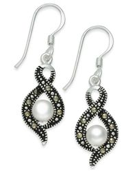 Macy's - Metallic Cultured Freshwater Pearl (5mm) & Marcasite (1-1/3 Ct. T.w.) Drop Earring In Fine Silver-plate - Lyst
