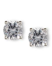 Nine West | Metallic Earrings, Silver-tone Round-cut Crystal Stud Earrings | Lyst