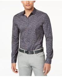 Calvin Klein Blue Abstract Printed Shirt for men