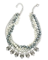 Charter Club - Metallic Silver-tone 2-pc. Set Crystal & Imitation Pearl Necklaces - Lyst
