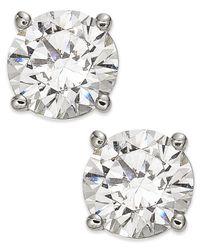 Macy's - 14k White Gold Diamond Stud Earrings - Lyst