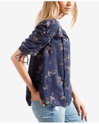 Lucky Brand Blue Puff Sleeve Printed Top (navy Multi) Clothing