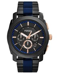 Fossil - Blue Men's Chronograph Machine Two-tone Stainless Steel And Silicone Bracelet Watch 45mm Fs5164 for Men - Lyst