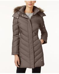 Kenneth Cole - Brown Faux-Fur-Trim Chevron Quilted Down Coat - Lyst