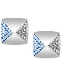 Swarovski - Metallic Silver-tone Clear And Light Blue Crystal Square Stud Earrings - Lyst