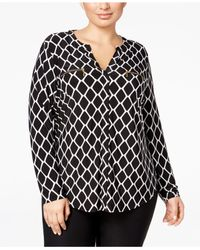 08e92bdb3d1 Lyst - Inc International Concepts Plus Size Printed Zip-pocket Shirt ...