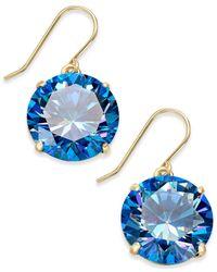 Kate Spade - Blue Shine On Gold-tone Crystal Drop Earrings - Lyst