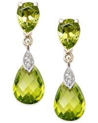 Macy's - Yellow Peridot (6 Ct. T.w.) And Diamond Accent Drop Earrings In 14k Gold - Lyst