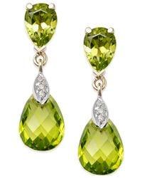 Macy's | Yellow Peridot (6 Ct. T.w.) And Diamond Accent Drop Earrings In 14k Gold | Lyst