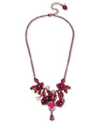 Betsey Johnson - Pink-tone Flower & Crystal Collar Necklace - Lyst