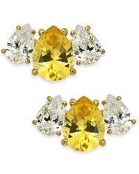 Danori - Yellow Crystal & Stone Stud Earrings, Created For Macy's - Lyst