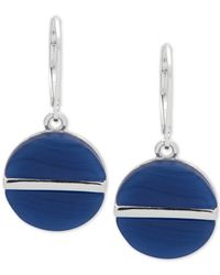 Nine West - Blue Silver-tone Colored Disc Drop Earrings - Lyst