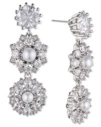 Marchesa - Multicolor Silver-tone Crystal & Imitation Pearl Linear Drop Earrings, Created For Macy's - Lyst
