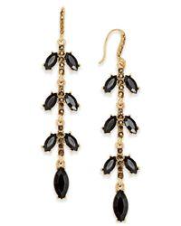 INC International Concepts - Black Gold-tone Jet Stone Linear Drop Earrings - Lyst