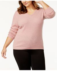 Charter Club - Pink Plus Size Cashmere V-neck Sweater - Lyst