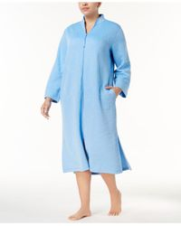 Miss Elaine - Blue Plus Size Quilted Robe - Lyst