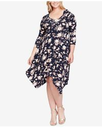 Jessica Simpson - Blue Trendy Plus Size Kaelin Handkerchief-hem Dress - Lyst