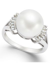 Macy's - Metallic Cultured Freshwater Pearl (11mm) And Diamond (1/5 Ct. T.w.) Ring In 14k White Gold - Lyst