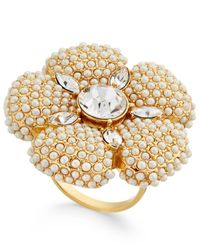 Kate Spade - Metallic Gold-tone Imitation Pearl And Crystal Flower Statement Ring - Lyst