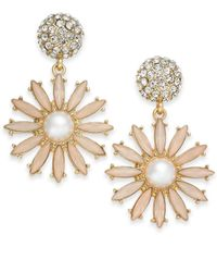 INC International Concepts - Pink Gold-tone Stone & Pavé Flower Burst Drop Earrings - Lyst