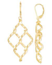 Macy's - Metallic Interlocked Chandelier Earrings In 14k Gold - Lyst