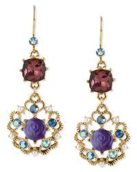Betsey Johnson | Multicolor Antique Gold-tone Flower Medallion Crystal Drop Earrings | Lyst