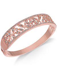 Charter Club - Metallic Rose Gold-tone Crystal Filigree Bangle Bracelet, Created For Macy's - Lyst