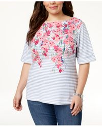 Karen Scott White Plus Size Cotton Printed Elbow-sleeve Top, Created For Macy's