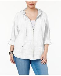 Style & Co. | White Plus Size Zip Hooded Jacket | Lyst