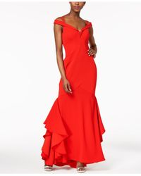 5e5999fb Lyst - Xscape Off-the-shoulder Mermaid Gown in Red