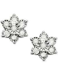 Macy's | Metallic Diamond Flower Stud Earrings In 10k White Gold (1/10 Ct. T.w.) | Lyst