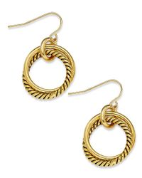 Lauren by Ralph Lauren | Metallic 14k Gold-plated Twisted Link Drop Earrings | Lyst
