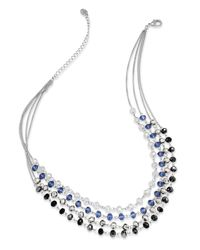 INC International Concepts | Metallic Necklace, Silver-tone Multi-color Bead Four-row Necklace | Lyst