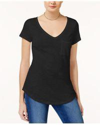 Maison Jules - Black Short-sleeve V-neck Tee - Lyst