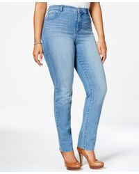 Style & Co. | Metallic Plus Size Tummy-control Slim-leg Jeans, Only At Macy's | Lyst