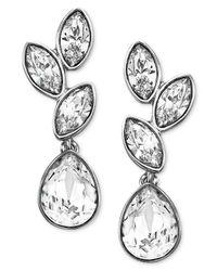 Swarovski - Metallic Earrings, Rhodium-plated Crystal Cluster Drop Earrings - Lyst