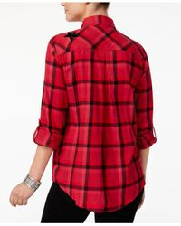 Style & Co. - Red Sequin-embellished Plaid Cotton Shirt - Lyst