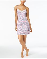 Lucky Brand - Purple Lace-trimmed Printed Knit Nightgown - Lyst