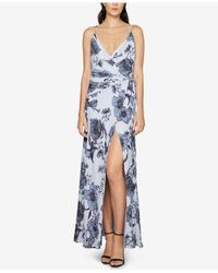 Fame & Partners - Blue Floral-print Maxi Wrap Dress - Lyst