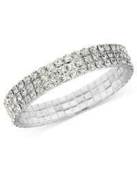 2028 | Metallic Bracelet, Silver-tone Clear Crystal Stretch Bracelet | Lyst