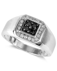 Effy Collection | Metallic Gento By Effy Men's Black Diamond (1/5 Ct. T.w.) And White Diamond (1/8 Ct. T.w.) Square Ring In 14k White Gold for Men | Lyst