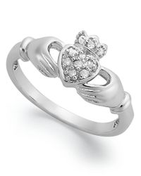 Macy's | Metallic Diamond Claddagh Ring In Sterling Silver (1/10 Ct. T.w.) | Lyst