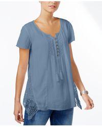 Style & Co. - Blue Petite Crochet-detail Top - Lyst