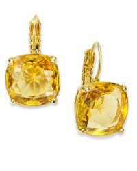 kate spade new york | Orange Earrings, 12k Gold-plated Colorado Crystal Square Leverback Earrings | Lyst