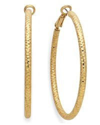 INC International Concepts - Metallic Gold-tone Small Textured Hoop Earrings - Lyst