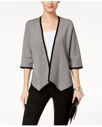 Alfani - Gray 3/4-sleeve Asymmetrical Cardigan - Lyst
